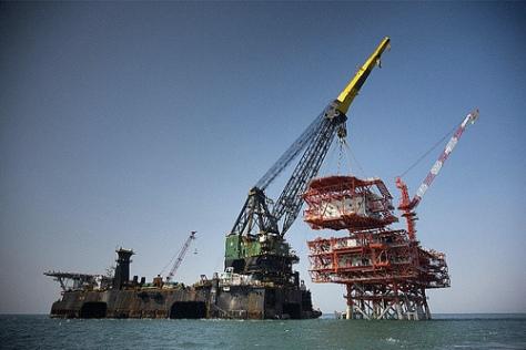 An oil platform under construction.