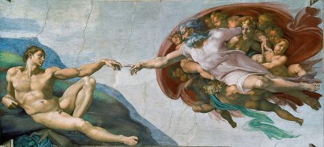 Creation of Adam, by Michelangelo. Courtesy Wikipedia.