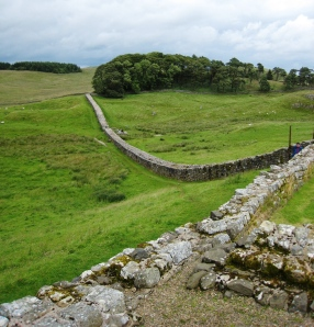 Hadrian's Wall, built to keep out my ancestors. Courtesy Wikipedia.