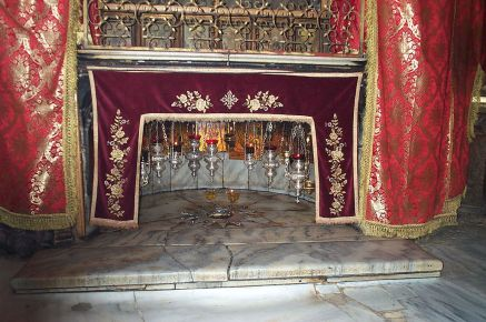 The birthplace of Jesus, as it appears today inside the Church of the Nativity in Bethlehem, Palestine.  Courtesy Wikipedia.
