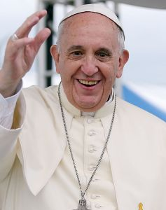 His Holiness Pope Francis showing off the exact opposite of a 'funeral face,' courtesy Wikipedia.