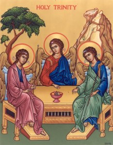 An icon of the Holy Trinity, based on the famed Rublev Icon.