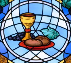 Communion elements in stained glass from an Ohio parish, courtesy Nheyob via Wikimedia Commons.