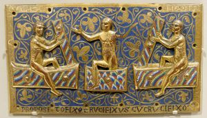 Saints rising from the grave, plaque, circa 1250.  Courtesy Marie-Lan Nguyen via Wikimedia Commons.