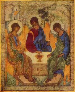 The famous 15th cent. Rublev icon of the Most Blessed Trinity.  Courtesy Wikimedia Commons.