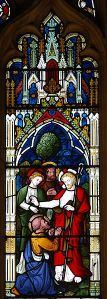 Stained glass window of the Confession of Peter, England. Courtesy Kevin Wailes via WIkimedia Commons.