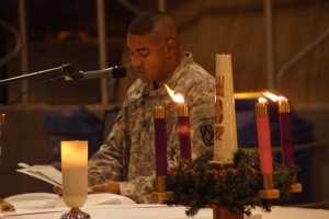 U.S. Army Capt. Vasquez, a chaplain, reads a sermon during a Christmas Eve Mass at Camp Lemonier, Djibouti, Dec. 24, 2008. Camp Lemonier is the hub of Combined Joint Task Force in the Horn of Africa, providing humanitarian relief, security and anti-terrorism activities to the nations in the Horn of Africa. (U.S. Air Force photo by Tech. Sgt. Joe Zuccaro/Released/Courtesy PhotoPin via Creative Commons)